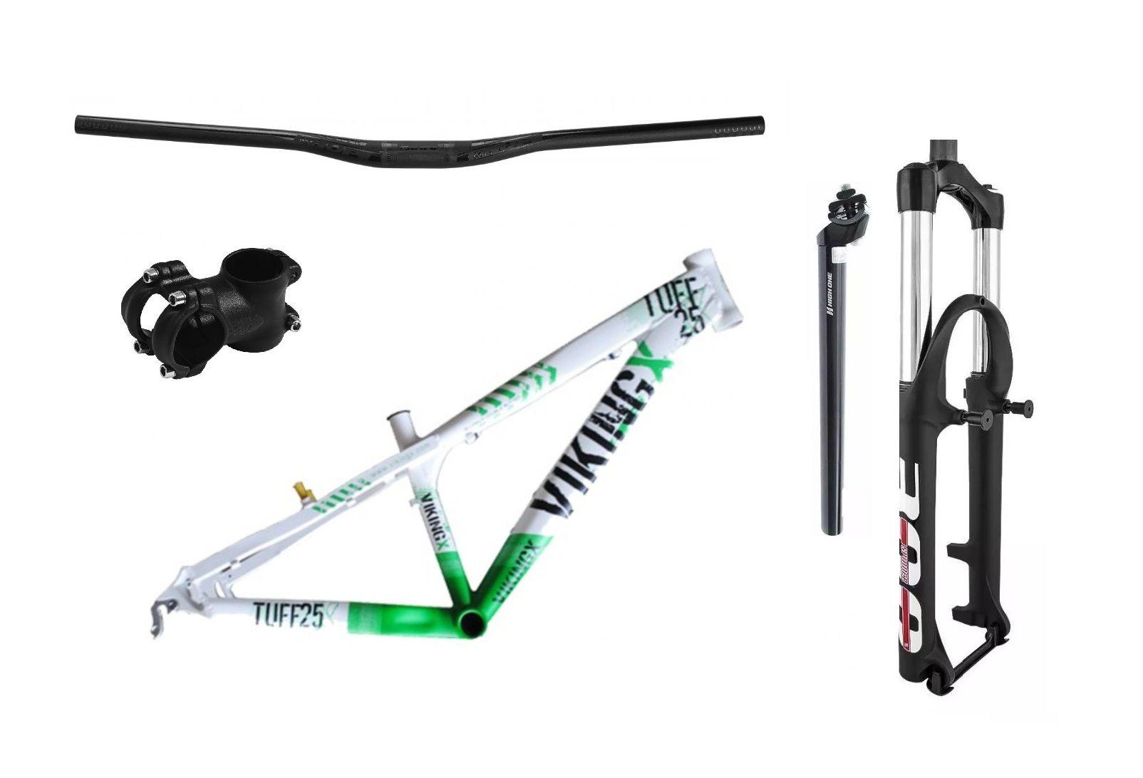 Kit Montagem Bike aro 26 Freeride Quadro Vikingx Suspensão 120mm Guidão mesa e canote