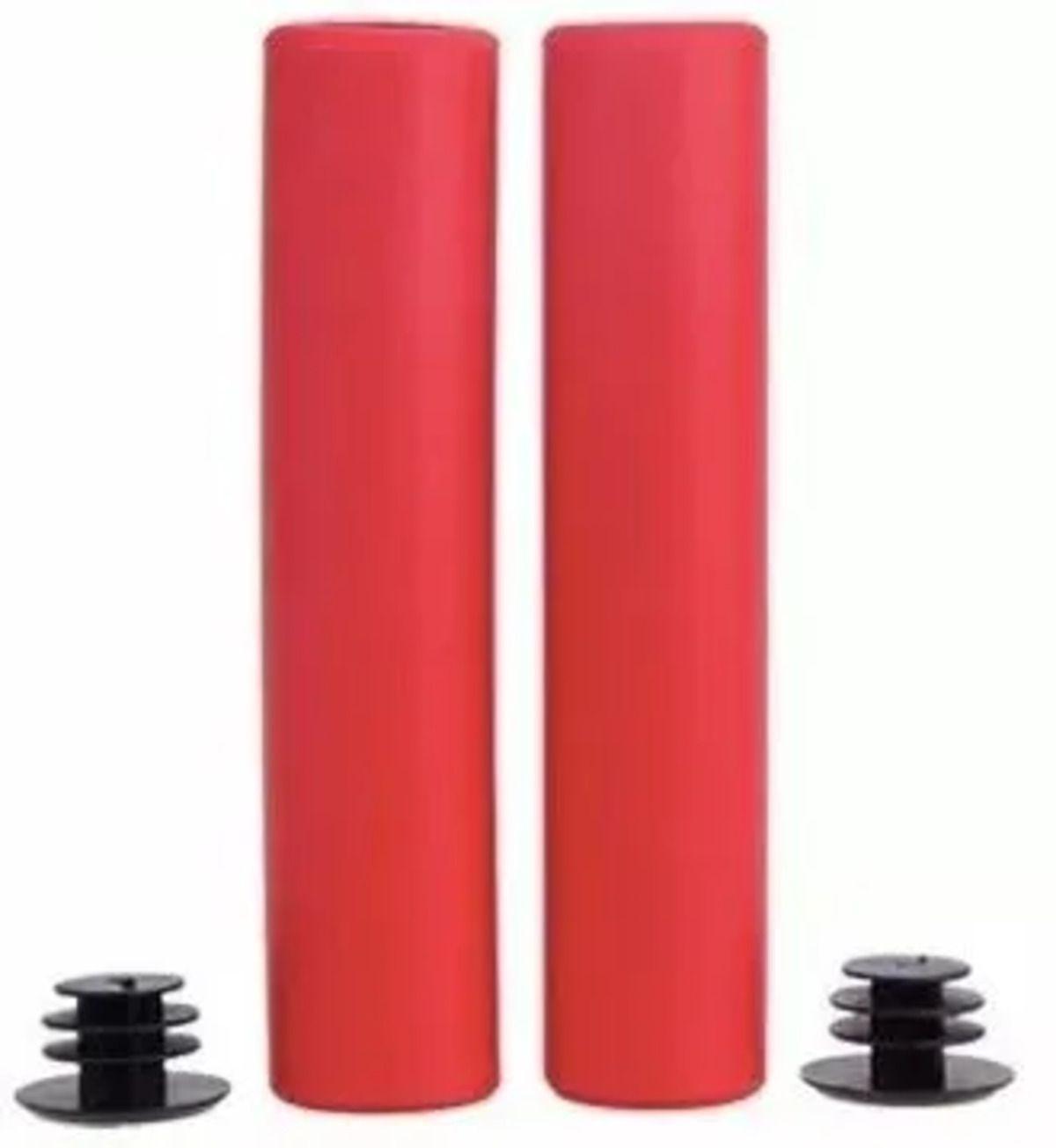 Manopla Para bicicleta Silicone 135mm Punho Grip Vermelha