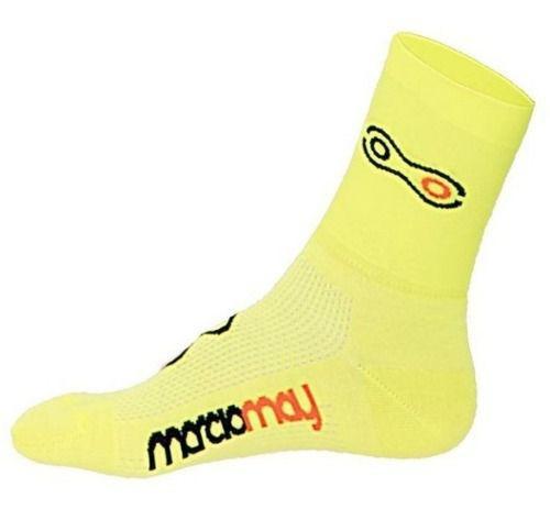 Meia de Ciclismo Corrida Fluor Marcio May Amarelo