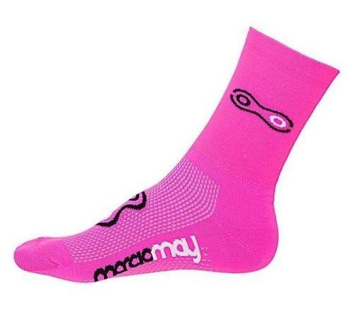 Meia de Ciclismo Corrida Fluor Marcio May Rosa