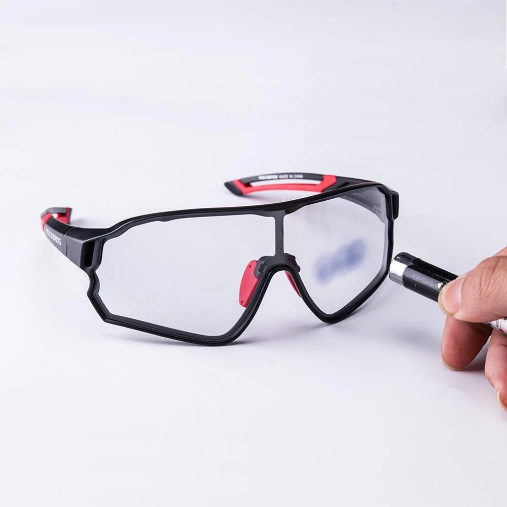 Óculos Ciclismo Rockbros Preto/vermelho Bike Tsw com Lente Fotocromática