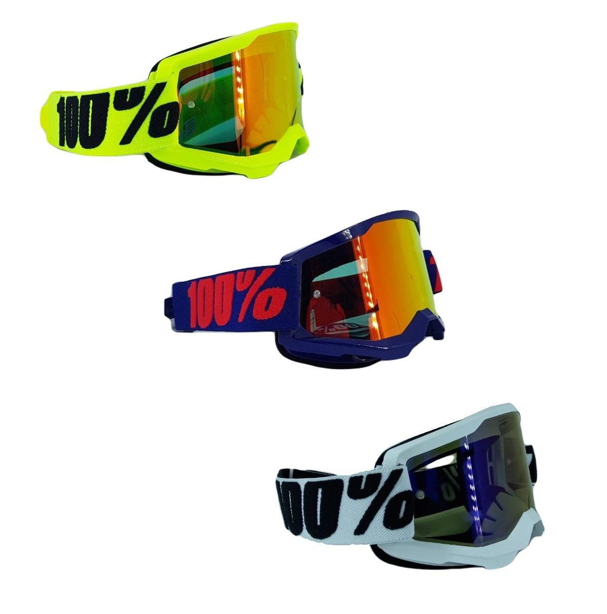 Óculos Motocross Enduro Downhill 100% Strata 2 Goggle Espelhado
