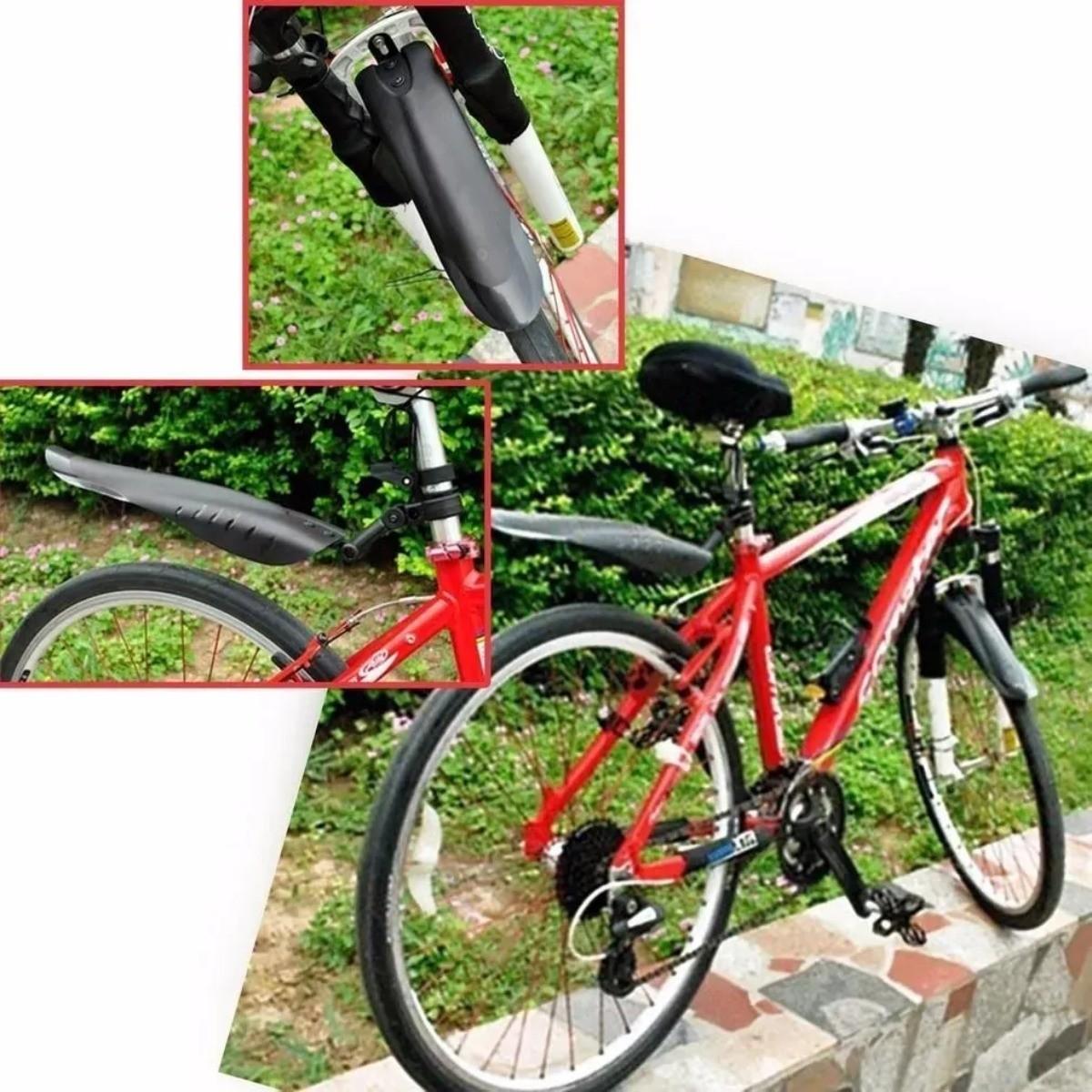 Paralama H1680 Bicicleta Ciclismo Preto Nylon Mtb Dianteiro e Traseiro