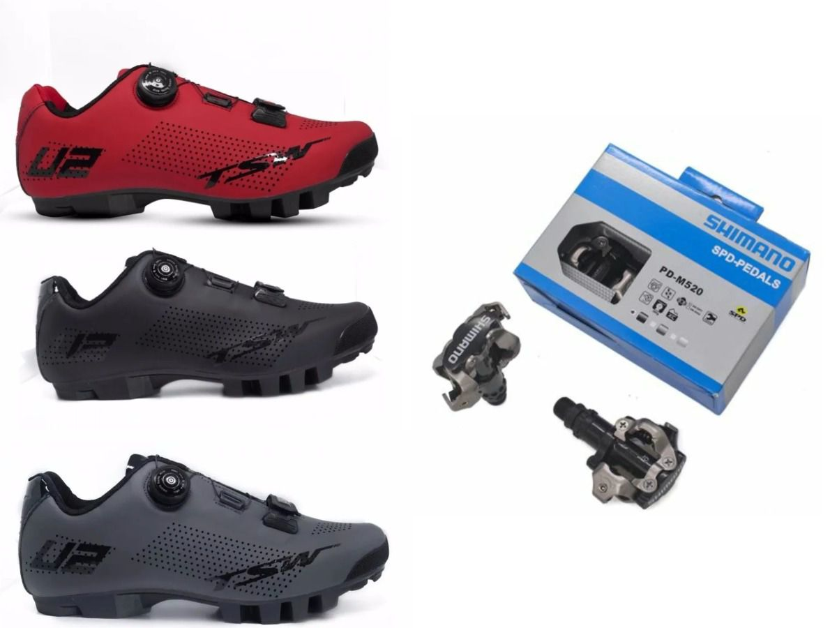 Sapatilha de Ciclismo MTB TSW Smart com Pedal Clip Shimano PD-M520