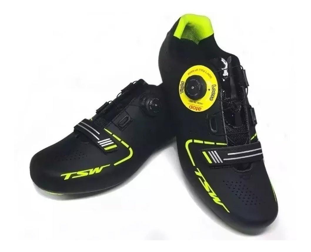Sapatilha Speed Ciclismo Smart Tsw Preto/ Neon
