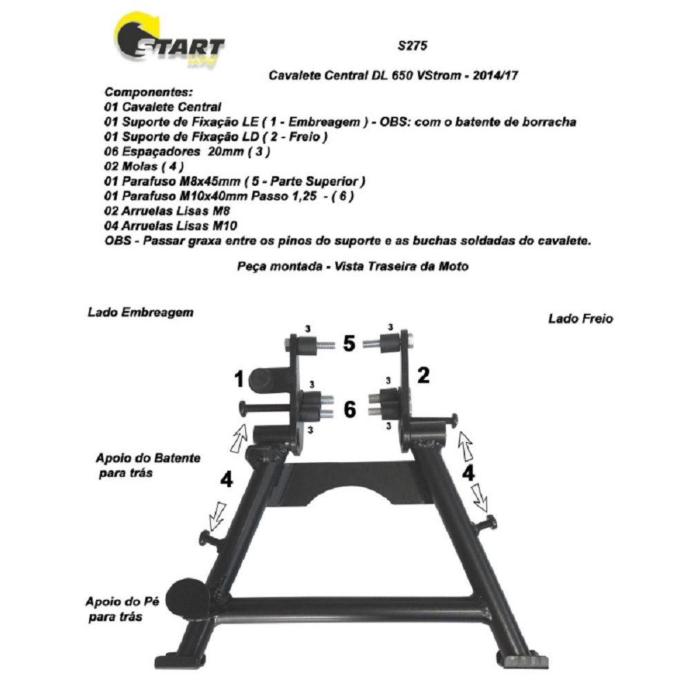 Cavalete Central Descanso V Strom 650 Vstrom 2007 / 2020 - Start Racing S275