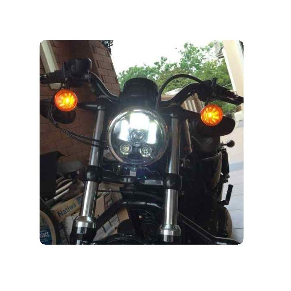 Farol Led 5 3/4 Preto P Harley Sportster Iron 883 48 1200