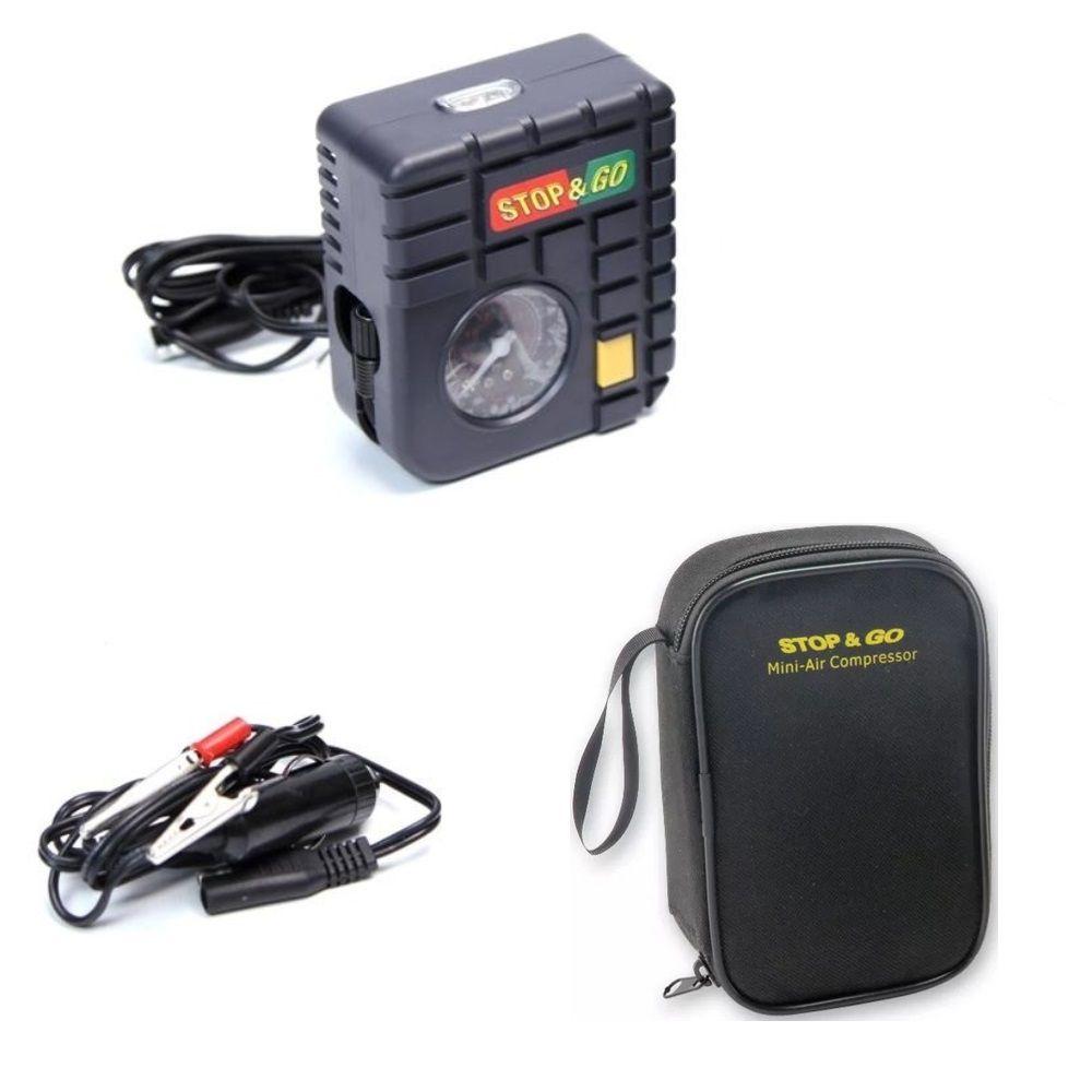 Mini Compressor Bomba de Ar Para PNEU 12V Para Moto Stop & GO com Lanterna