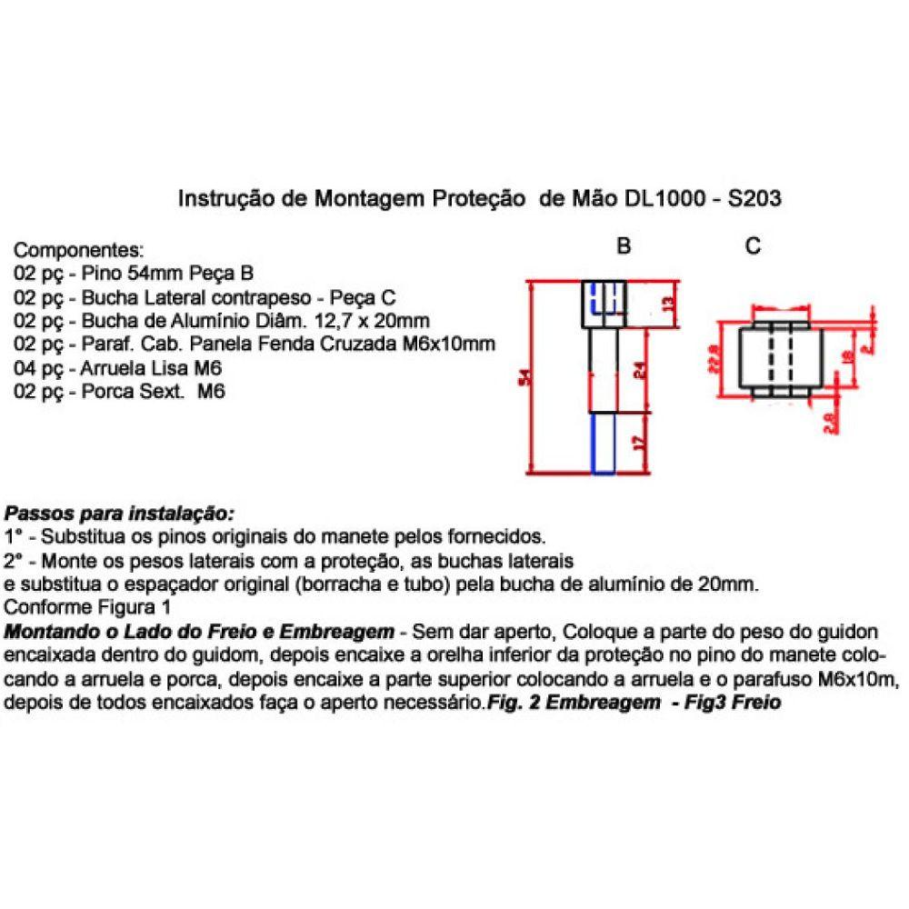 Protetor Manoplas Mão Vstrom V Strom 1000 2007 / 2020  e Burgman 650 S