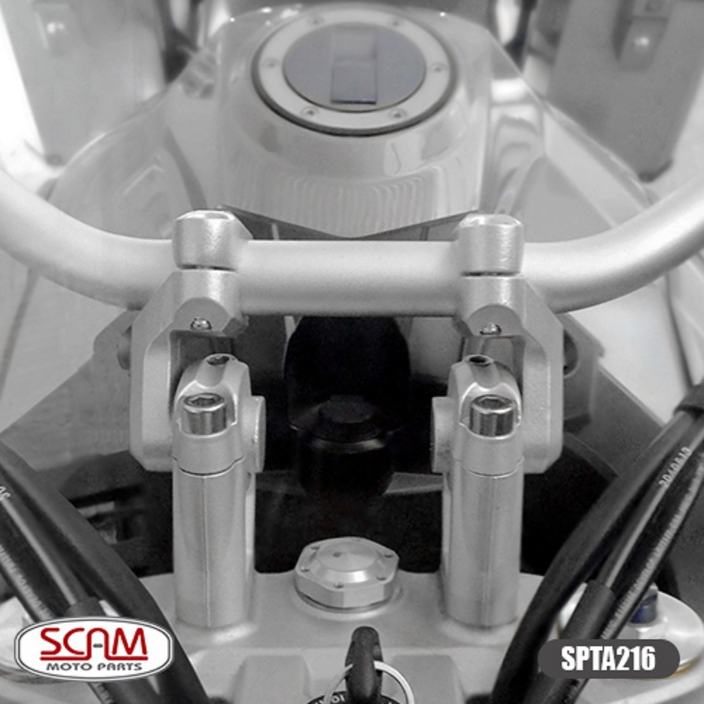 Riser Adaptador Alongador de Guidão P/ Tiger 800 Tiger 900 Tiger 1200 e BMW F 850 GS Scam Prata SPTA216
