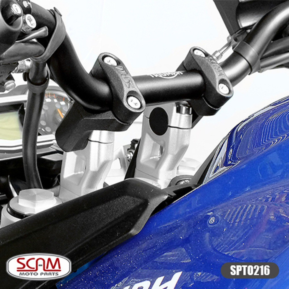 Riser Adaptador Alongador de Guidão P/ Tiger 800 Tiger 900 Tiger 1200 e BMW F 850 GS Scam Preto SPTO216