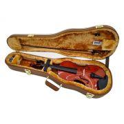Case Luxo Couro Marrom Para Violino Formato 4/4