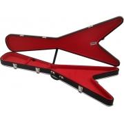 Case Térmico Para Guitarra Flying V Luxo Pelúcia Vermelha