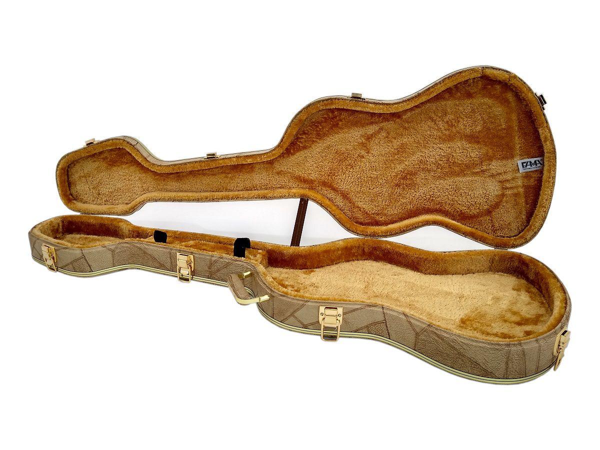 Case Contra Baixo Formato J.bass Caramelo Logo Fender
