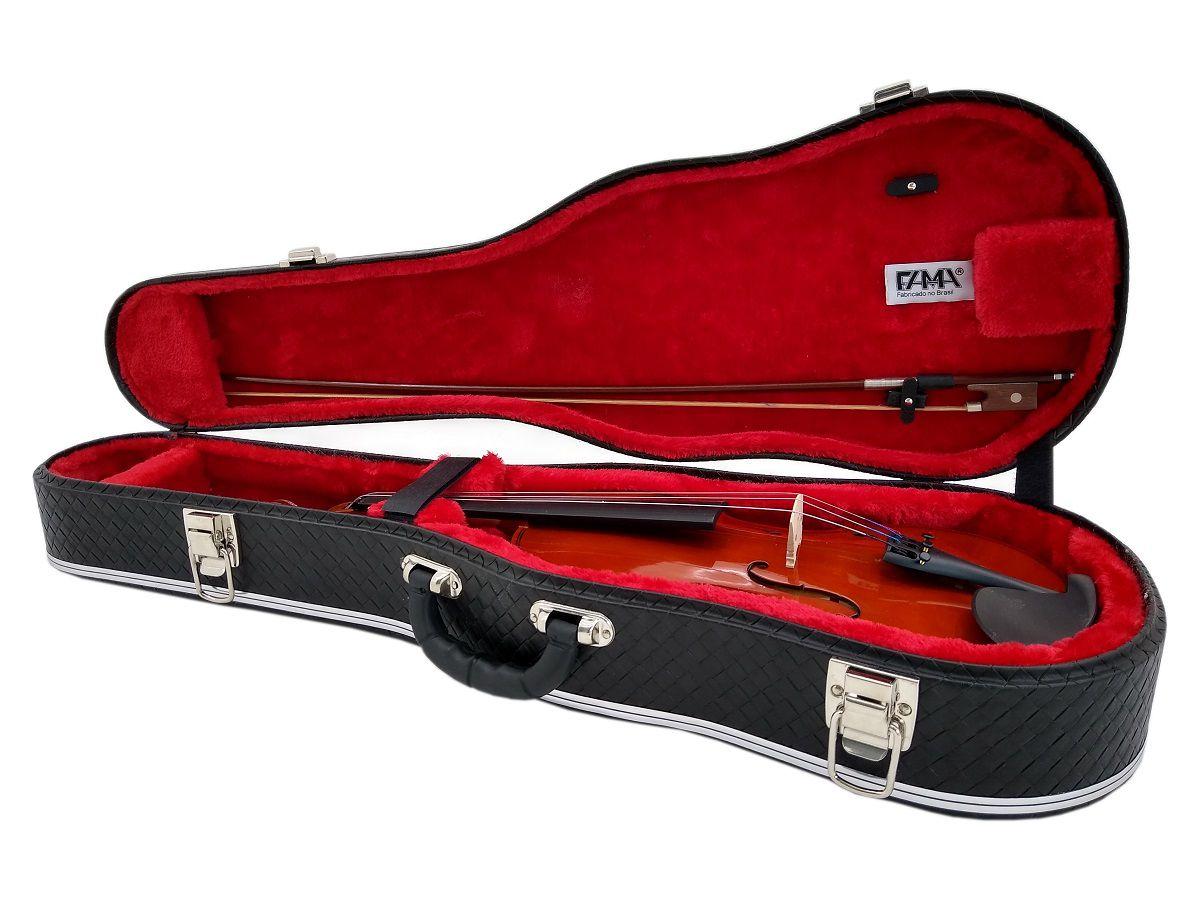 Case Luxo Couro Preto Para Violino Formato 4/4