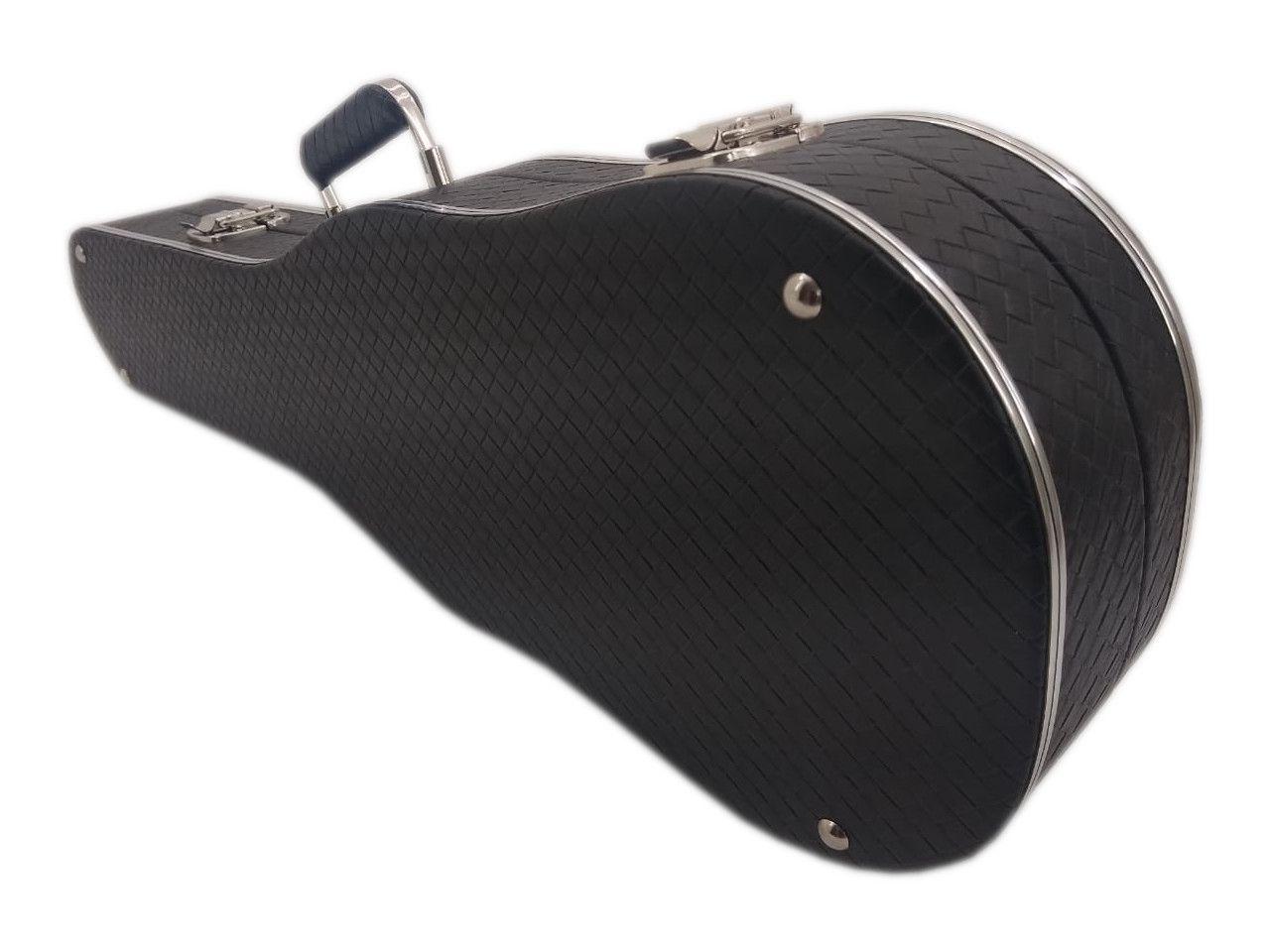 Case Luxo Couro Sintético Para Violino 4/4 Preto
