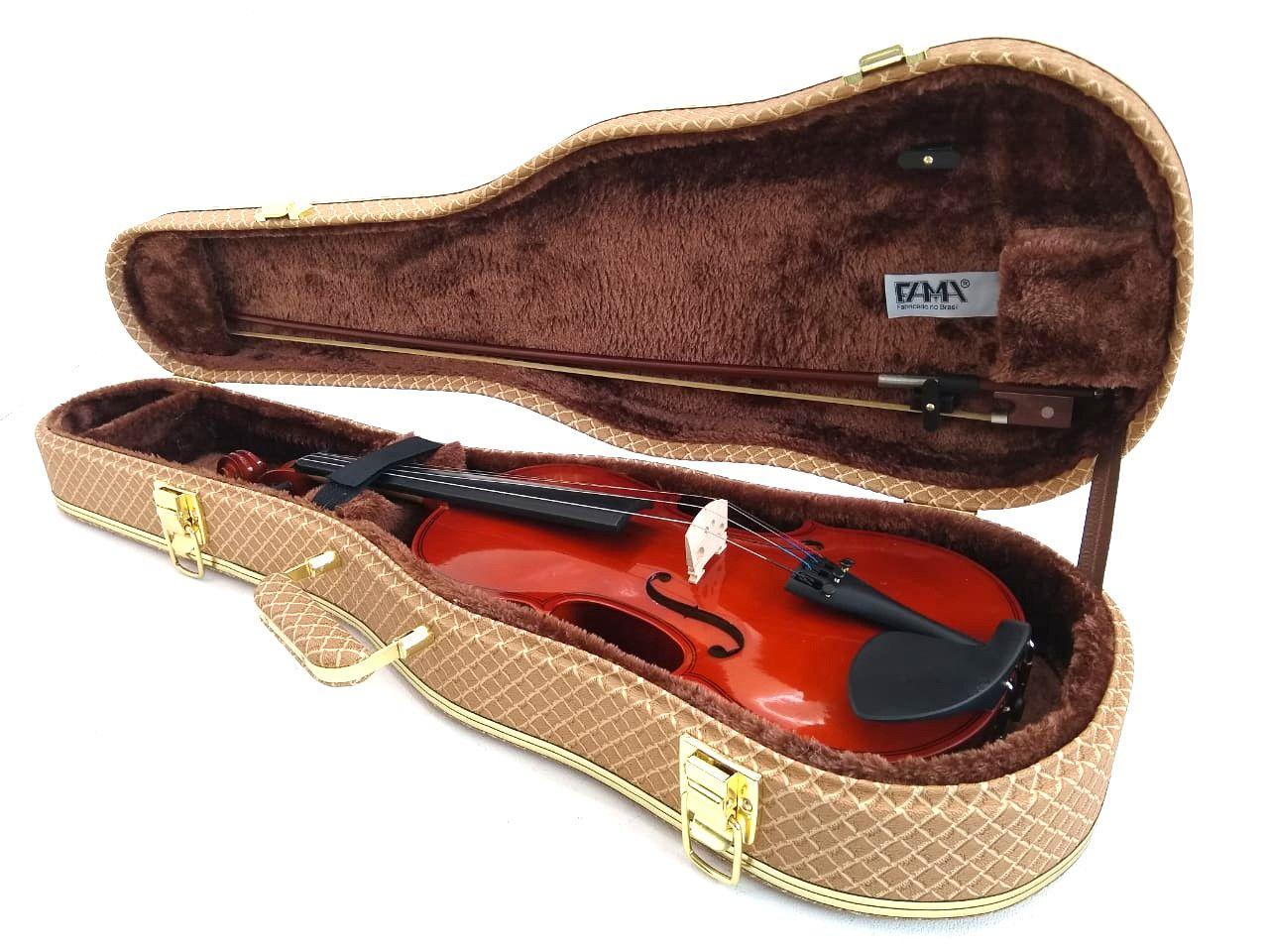 Case Luxo Couro Sintético Para Violino Formato 4/4 Marrom