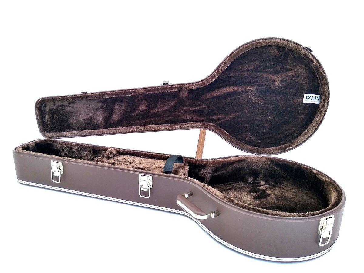 Case Térmico Para Banjo Country Americano  Luxo Marrom Niquelado