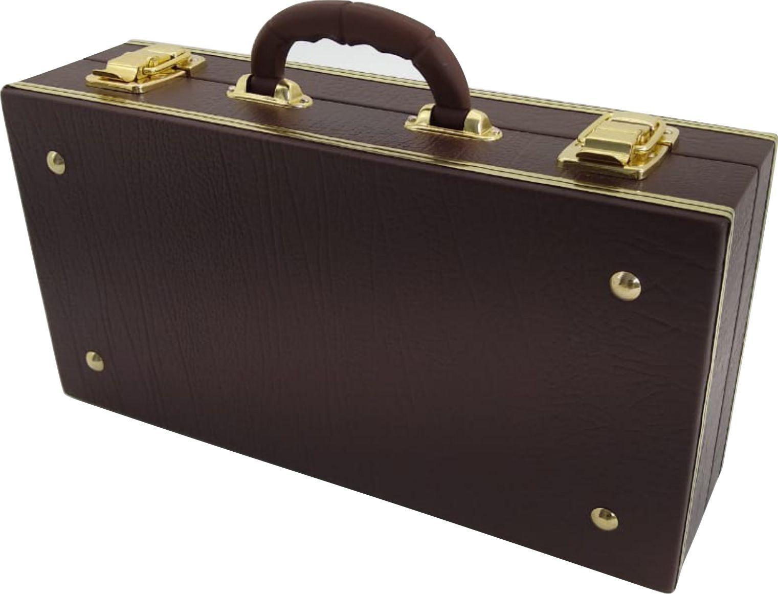 Estojo Case para Clarineta ou Clarinete Fundo Falso Luxo Marrom