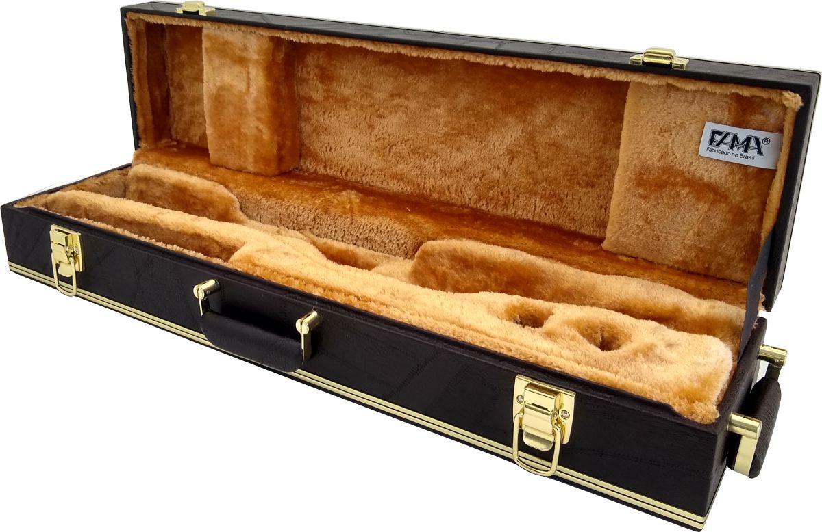 Estojo Case Para Sax Soprano Reto Luxo Marrom Café