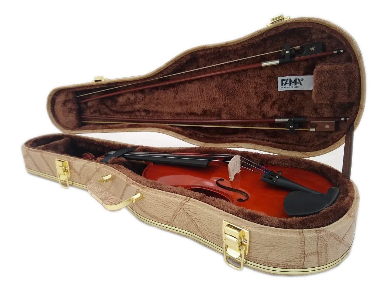 Estojo Case Para Violino 4/4 Luxo Caramelo Couro Sintético