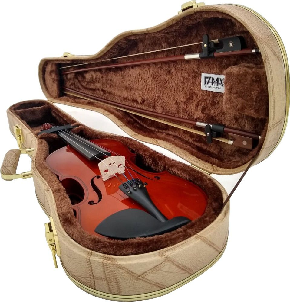 Estojo Para Violino 3/4 Luxo Caramelo Couro Sintético