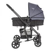 arrinho Travel System Kiddo Prima - Azul + Bebê Conforto + Base