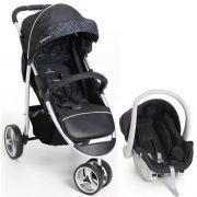 Carrinho 3 Rodas Travel System + Bebê Conforto Apollo Preto - Galzerano