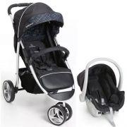 Carrinho 3 Rodas Travel System com Bebê Conforto Apollo Preto - Galzerano