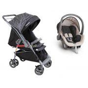 Carrinho Bebê Reversível Maranello II Preto + Bebê Conforto - Galzerano