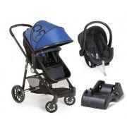 a2eb3a4ceb Carrinho de Bebê Moisés Gero Azul Preto + Bebê Conforto + Base - Galzerano