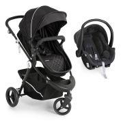 Carrinho de Bebê Moisés Golden Black White + Bebê Conforto + Base - Galzerano