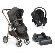 Carrinho de Bebê Moisés Olympus Black + Bebê Conforto + Base - Galzerano