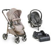 Carrinho de Bebê Moisés Olympus Cappuccino + Bebê Conforto + Base - Galzerano