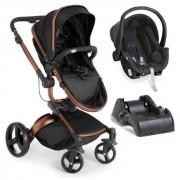 Carrinho Travel System Galzerano Vulkan Multi Posições Preto e Cobre + Bebê Conforto + Base