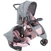 Carrinho de Bebê Travel System Jetty Duo Rosa Mescla - Cosco
