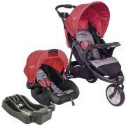 Carrinho de Bebê Travel System Kiddo Fox Cinza e Vermelho + Base