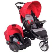 Carrinho de Bebê Travel System Kiddo Fox Cinza e Vermelho * Bebê Conforto