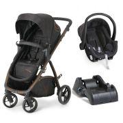 Carrinho Travel System Dzieco Maly - Black Copper + Bebê Conforto + Base