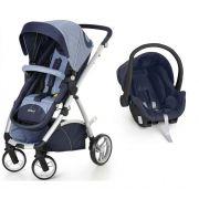 Carrinho Dzieco Travel System Maly Azul Jeans com Bebê Conforto Cocoon