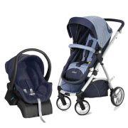 Carrinho Travel System Maly Azul Jeans + BB Conforto + Base - Dzieco