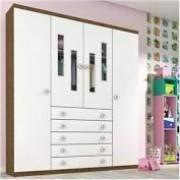 Guarda Roupa Infantil 4 Portas Evolution Tcil Móveis Imbuia Rustic/Neve