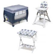 Kit Galzerano Aviador - Cadeira de Refeição Premium + Banheira Luxo + Berço Ninho II