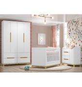 Kit Quarto Infantil Alegria Branco HP - Henn – Berço + Cômoda + Guarda-Roupa