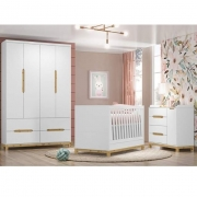Kit Quarto Infantil Henn Alegria Branco HP– Berço + Cômoda + Guarda-Roupa