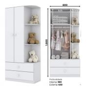Kit Quarto Infantil Henn Labirinto Branco - Berço Mini Cama + Cômoda 4 Gavetas + Guarda-roupa 2 portas