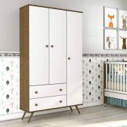 Quarto de Bebê Twister Liso Neve/Imbuía 3 portas com Pés - Tcil