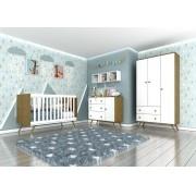 Kit Quarto Infantil Twister Tcil  Branco com Imbuía - Berço + Cômoda com Porta + Guarda-roupa