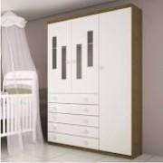 Guarda-Roupa  Infantil 3 Portas  Evolution Imbuia Rustic/neve - Tcil Móveis