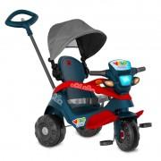Triciclo Bandeirante Velobaby com Capota Passeio e Pedal - Azul